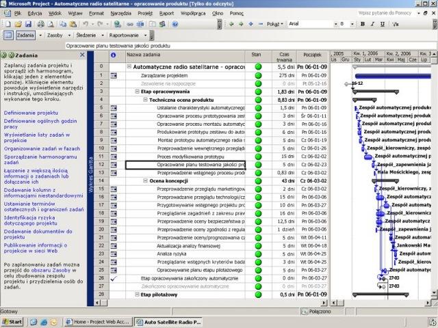 Microsoft project pro 2007 pl h30 01869 widok wykresu gantta z okienkiem zadania wywietlanym z lewej strony przewodnika po programie project ccuart Choice Image